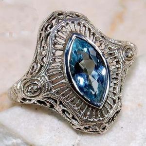 2CT Aquamarine 925 Silver Art Deco Filigree Ring